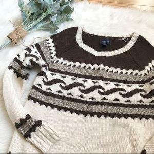 American Eagle Cream Brown Nordic Ski Sweater